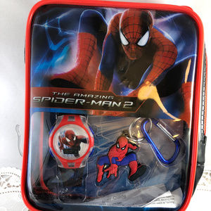 Spider Man Watch & Key Fob Collectible Bag New